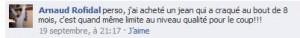 Commentaire sur la page facebook Zadig Et Voltaire